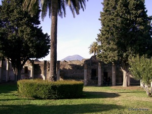 Pompeii, view of Vesuvius from the House of Faun.
