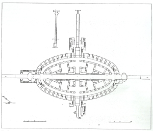 Foto 1: Pozzuoli, Anfiteatro Flavio, pianta dei sotterranei.