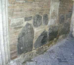 Photo 17:  Naples, church of Santa Maria della Pietrasanta, bell tower, lava stones into the inner walls of the barrel arch.