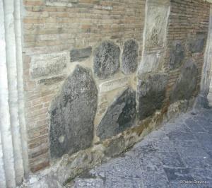 Photo 17:  Naples, church of Santa Maria della Pietrasanta, bell tower, lava stones into the inner walls of the barrel arch.