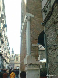 Photo 12:   Naples, church of Santa Maria della Pietrasanta, bell tower, Roman column on the eastern side.