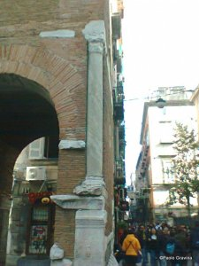 Photo 13:  Naples, church of Santa Maria della Pietrasanta, bell tower, Roman column on the western side.