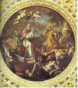 """Photo 7: Mattia Preti, """"Celestine 5th takes into possession of the papal seat, preceded by Charles 2nd D'Anjou with the cross"""", Naples, church of San Pietro a Majella, painting in the caisson ceiling above the central aisle (from Napoli Sacra. Guida alle chiese della città, Vol. 7)."""